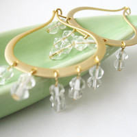 Earrings ooak with czech transparent crystals