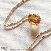 LARGE SOLITARE PENDANT OVAL - CITRINE by Meena Song Jewellery