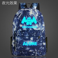 Student Backpack Children Marshmello Alone DJ School Bag noctilucous Luminous backpack student bag Notebook Daily backpack Glow in the Dark Mochila AT_49_3