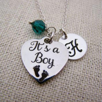It's A Boy Necklace -  Swarovski Birthstone Initial Personalized Sterling Silver Necklace / Gift for Her - New Baby Charm