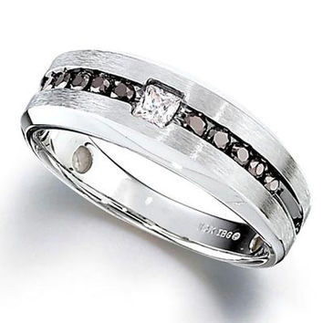 Men's 1/2 CT. T.W. Enhanced Black and White Diamond Ring in Sterling Silver - View All Rings - Zales