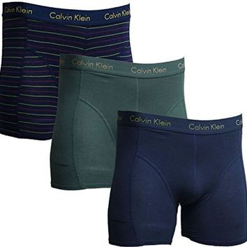 DCCKG2C Calvin Klein Boxer Brief Men's Underwear - 3 Pack - Blue (Solid and Stripe)