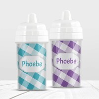 2 Gingham Personalized Sippy Cups - Turquoise Purple Gingham Patterns with Names BUNDLE - 10oz BPA Free - Made to Order
