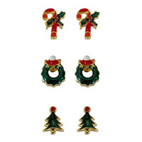 Holiday Christmas Themed Earrings,3 Styles Goldtoned Pierced Earrings ,Set Of 3