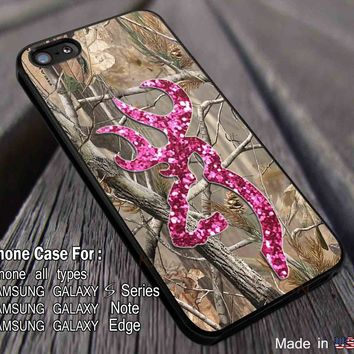 Camo Browning Pink Glitter iPhone 7 7+ 6s 6 Cases Samsung Galaxy S8 S7 edge S6 S5 NOTE 5 4 3