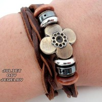 Double wrap unisex leather bracelets