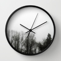 Fog, Mist, Misty, Trees, Eerie, B&W, Morning - 10 Inch Round Wall Clock - kitchen, new home or apartment, dorm, gift -Made To Order - MMF#85
