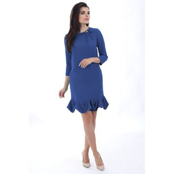 Blue Round Neck Sleeves Cocktail Dress