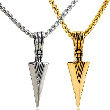Striking Mens Stainless Steel Spear Head Pendant Necklace for Men Arrowhead Biker Jewelry with 23'' Chain Thanksgiving gifts