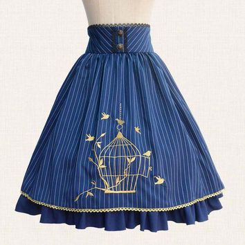 DCCKU62 2017 Fall Classic Lolita Skirt Vintage Style Striped A Line Skirt with Cage Embroidery