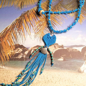 Tassel Shell Charm Hemp Necklace/Beaded Hemp Necklace/Womens Necklace/Teens Necklace/Beach Hemp Necklace/Ocean Jewelry