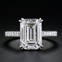 4.00 Carat Emerald Cut Diamond Engagement Ring