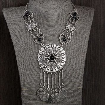 77g Collar Choker Statement Bohemian Necklace Coin Gypsy Tribal Ethnic Turkish Chain (size: 45.5 Cm Color: Silver Gray)