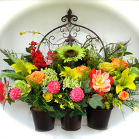 Large Silk Floral Door or Fence Arrangement in Decorative Metal Planters - Pastel Colored Roses an d Assorted Floral Stems, Spring or Summer
