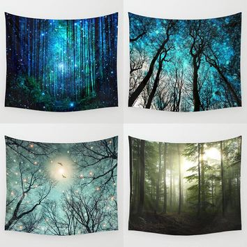 Hyha Psychedelic Forest Trees and Stars Tapestry Starry Sky Fabric Wall Hanging Decor Polyester Curtains Plus Table Cover Yoga