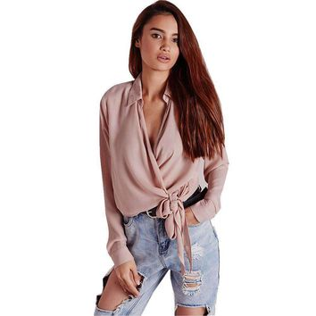 2017 Autumn Blouse Sexy Office Lady Women Long Sleeve V-neck Tops Shirt Loose High Quality Pink Blusas Tops