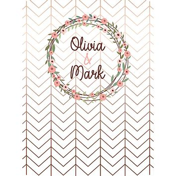 Custom Rose Gold Chevron Floral Wedding Frame Backdrop (Any Color) Background - C0277