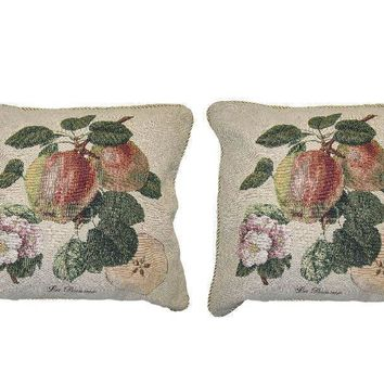 DaDa Bedding Set of Two Splendor of Apples Fruit Square Cushion Cover w/Pillow Inserts - 2-PCS - 18""