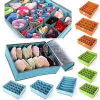 Ties Socks Shorts Bra Underwear Divider Lidded Closet Organizer Storage Box