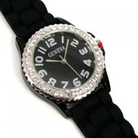 Black Silver Silicone Gel Ceramic Style Band Crystal Bezel Watch