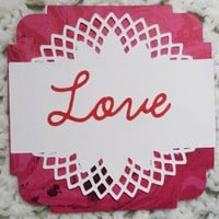 Love ,Lace on Red Valentines Day Card,3.75