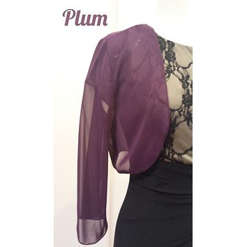 Mid Length Sleeve Sheer Plum Chiffon Bolero Jacket 3/4 Length Shrug