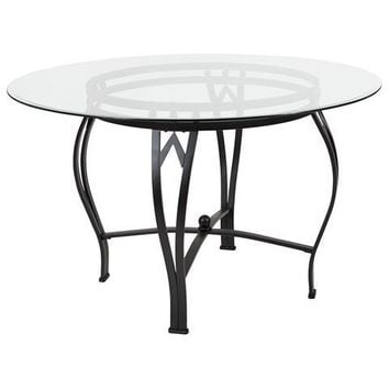 Syracuse 48'' Round Glass Dining Table with Black Metal Frame