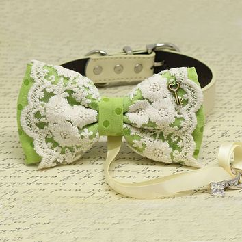 Greenery Lace dog bow tie Ring Bearer collar, Color of the Year PANTONE 15-0343, Key, Pet wedding, Proposal