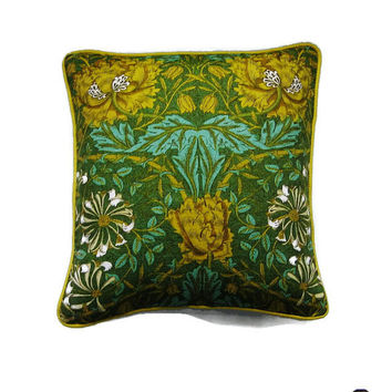 Liberty William Morris Honeysuckle, 70s vintage Arts and Crafts yellow, green, beige cushion, throw pillow, homeware decor, 18 X 18 ins.