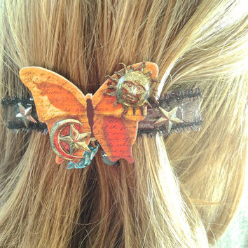 Butterfly Hair Clip Eclectic Unique Artisan Handmade Wearable Art Sun Moon Stars