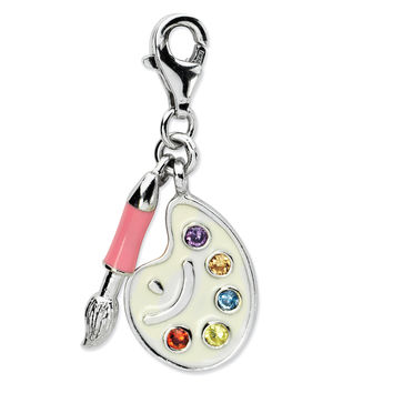 Sterling Silver CZ Enamel Artist Palette w/Lobster Clasp Charm QCC703
