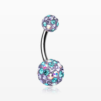 Retro Motley Multi-Gem Sparkle Belly Button Ring