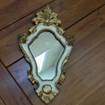 Vintage Ornate Hollywood Regency Style Gold and White Wood Framed Mirror Made in Italy
