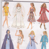 Vintage 1980s pattern for wardrobe for Barbie/11.5 inch dolls 8 complete outfits including wedding dress Simplicity 8333 CUT and COMPLETE