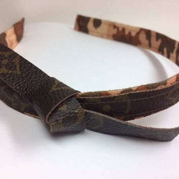 Louis Vuitton Hair, LV Headband,  Vuitton, Upcycled,  Recycled, Reworked, Repurposed, Keepall, Neverfull, Camouflage Print, Vuitton Headband