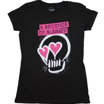 5 Seconds of Summer Pink Heartskull Junior's T Shirt