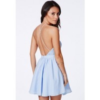 Missguided - Desaree Blue Cross Back Lace Detail Puffball Mini Dress