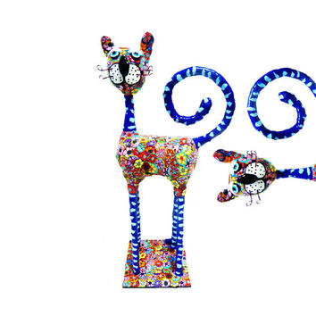 Cat sculpture /home decor / home design/polymer clay/ handmade/ blue /Collectibles /made in Israel
