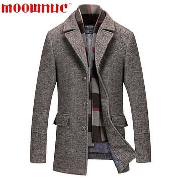 Woolen Overcoat for Men Thickened Scarf Keep Warm Wool Overcoat Autumn Winter Casual Business Fashion High Quality Brand MOOWNUC