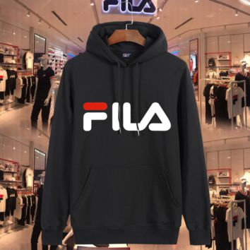 FILA Fashion Casual print sweater hoodie pullover Grey