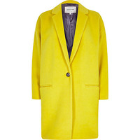 River Island Womens Yellow oversized coat