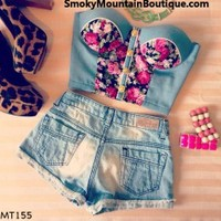 Denim Midriff Bustier Top With Pink Floral Pattern Size S/M - MT155 - Smoky Mountain Boutique