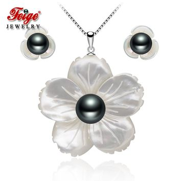 Exclusive design Shell carving Pearl jewelry sets for women's Black Pearls Pendant Necklace And Earrings set Fine pearl jewelry