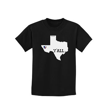 Texas State Y'all Design with Flag Heart Childrens Dark T-Shirt by TooLoud