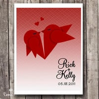 Love birds Wedding gift Personalized Art print Custom name Red ombre wall decor Couples gift  Anniversary date Gift for boyfriend