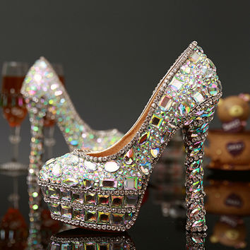 Luxury Crystal Wedding Shoes Heels Leather Pumps