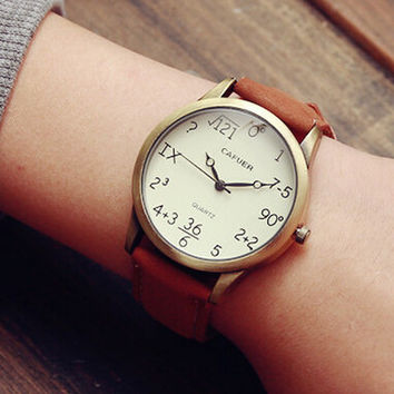 Mathematical Problem Leather Watch Gift - 520