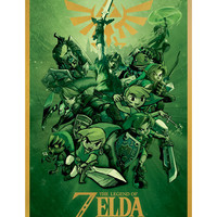 The Legend Of Zelda Green Fight Poster