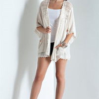 Open Crochet Lace Cardigan - Natural