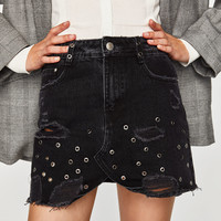 DENIM SKIRT WITH EYELETSDETAILS